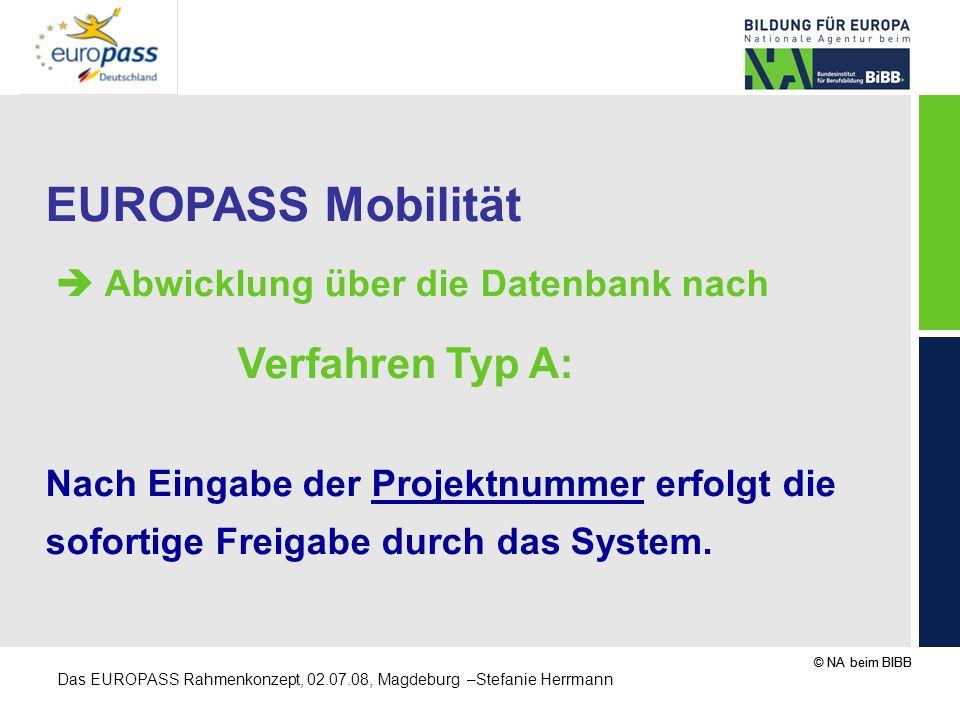 © NA beim BIBB Das EUROPASS Rahmenkonzept, 02.07.08, Magdeburg –Stefanie Herrmann EUROPASS Mobilität Abwicklung über die Datenbank nach Verfahren Typ