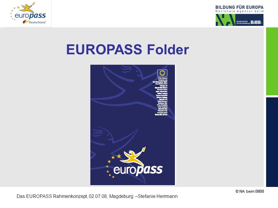 © NA beim BIBB Das EUROPASS Rahmenkonzept, 02.07.08, Magdeburg –Stefanie Herrmann EUROPASS Folder