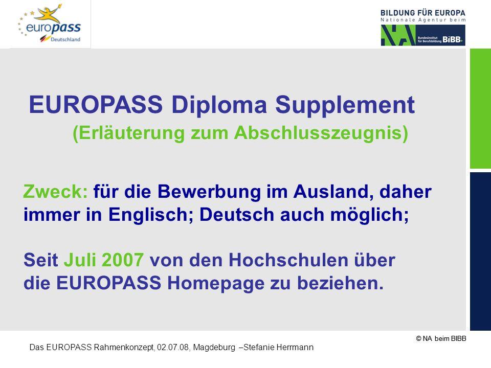 © NA beim BIBB Das EUROPASS Rahmenkonzept, 02.07.08, Magdeburg –Stefanie Herrmann EUROPASS Diploma Supplement (Erläuterung zum Abschlusszeugnis) Zweck