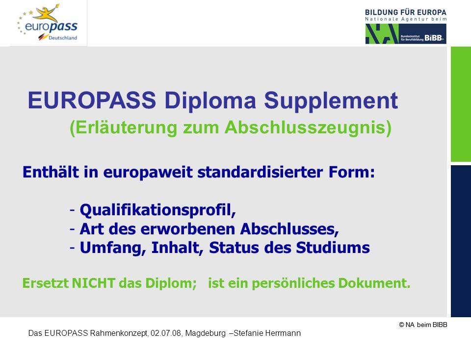 © NA beim BIBB Das EUROPASS Rahmenkonzept, 02.07.08, Magdeburg –Stefanie Herrmann EUROPASS Diploma Supplement (Erläuterung zum Abschlusszeugnis) Enthä