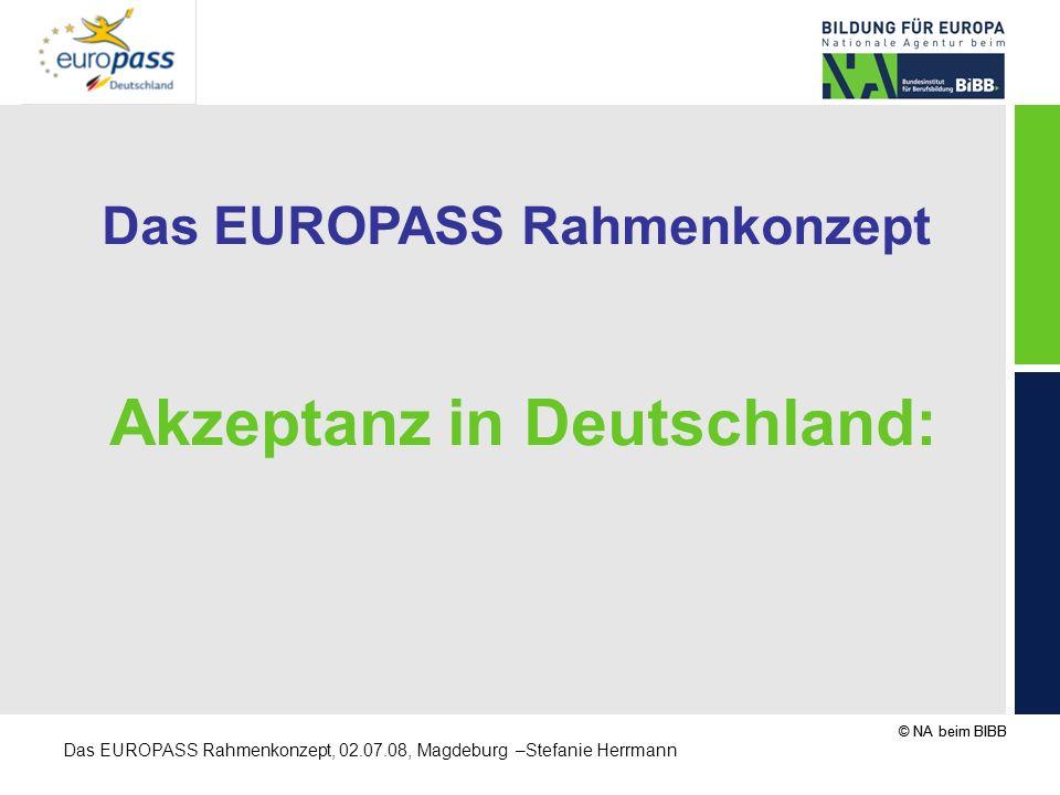 © NA beim BIBB Das EUROPASS Rahmenkonzept, 02.07.08, Magdeburg –Stefanie Herrmann Das EUROPASS Rahmenkonzept Akzeptanz in Deutschland: