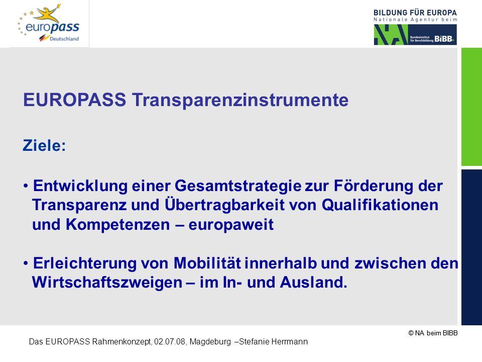 © NA beim BIBB Das EUROPASS Rahmenkonzept, 02.07.08, Magdeburg –Stefanie Herrmann EUROPASS Transparenzinstrumente Ziele: Entwicklung einer Gesamtstrat