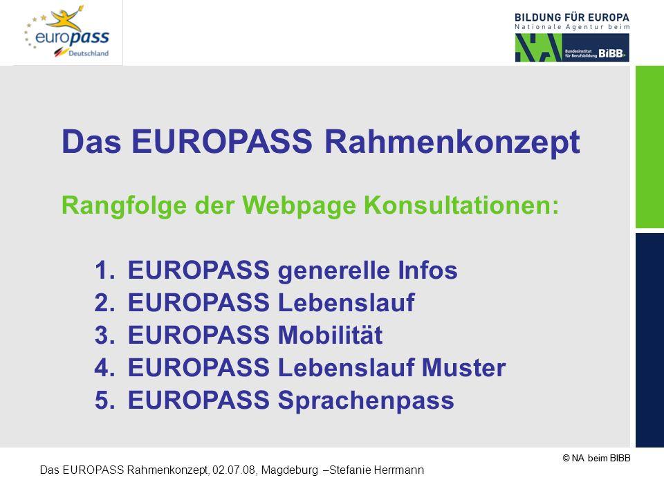 © NA beim BIBB Das EUROPASS Rahmenkonzept, 02.07.08, Magdeburg –Stefanie Herrmann Das EUROPASS Rahmenkonzept Rangfolge der Webpage Konsultationen: 1.E