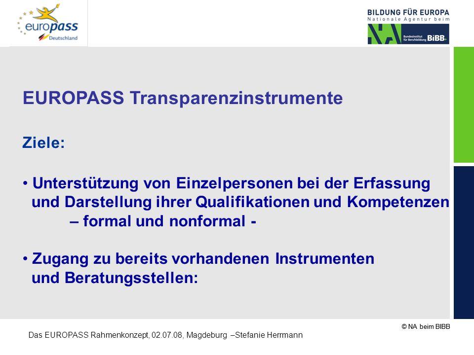 © NA beim BIBB Das EUROPASS Rahmenkonzept, 02.07.08, Magdeburg –Stefanie Herrmann EUROPASS Transparenzinstrumente Ziele: Unterstützung von Einzelperso
