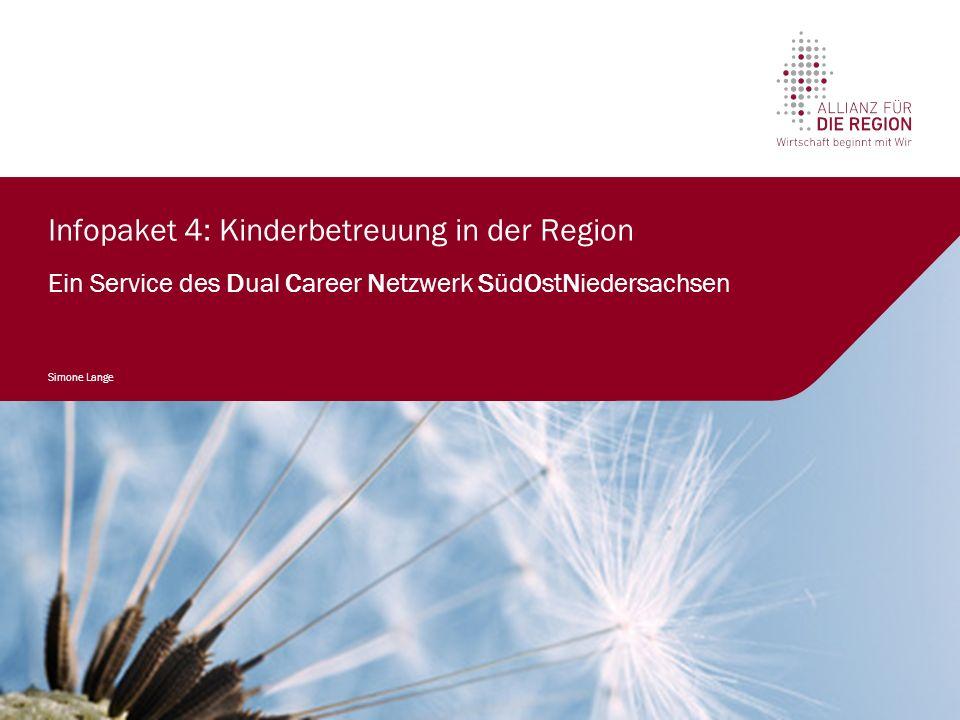 Infopaket 4: Kinderbetreuung in der Region Ein Service des Dual Career Netzwerk SüdOstNiedersachsen Simone Lange