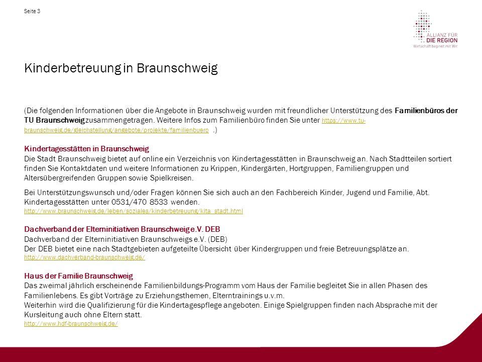 Seite 3 Kinderbetreuung in Braunschweig (Die folgenden Informationen über die Angebote in Braunschweig wurden mit freundlicher Unterstützung des Familienbüros der TU Braunschweig zusammengetragen.