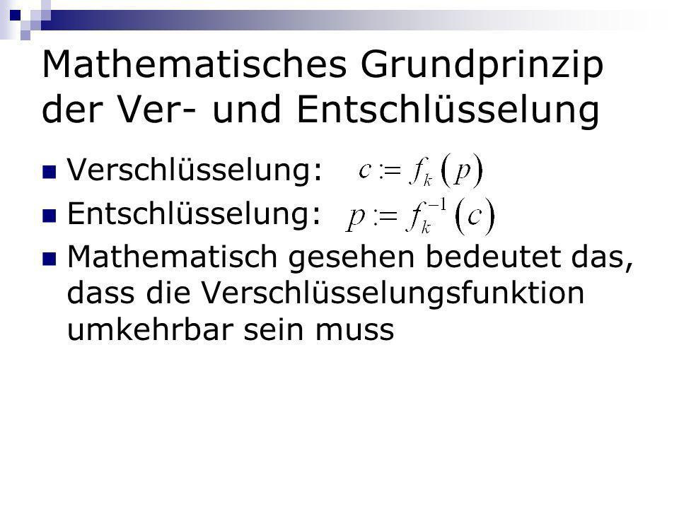 Mathematisches Grundprinzip der Ver- und Entschlüsselung Verschlüsselung: Entschlüsselung: Mathematisch gesehen bedeutet das, dass die Verschlüsselung