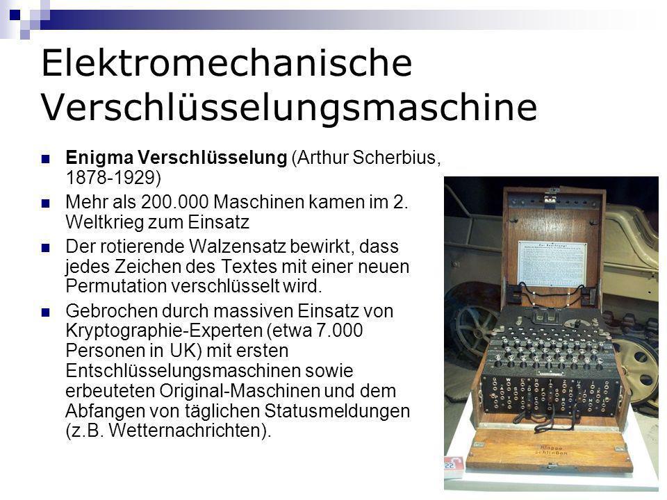 Elektromechanische Verschlüsselungsmaschine Enigma Verschlüsselung (Arthur Scherbius, 1878-1929) Mehr als 200.000 Maschinen kamen im 2. Weltkrieg zum