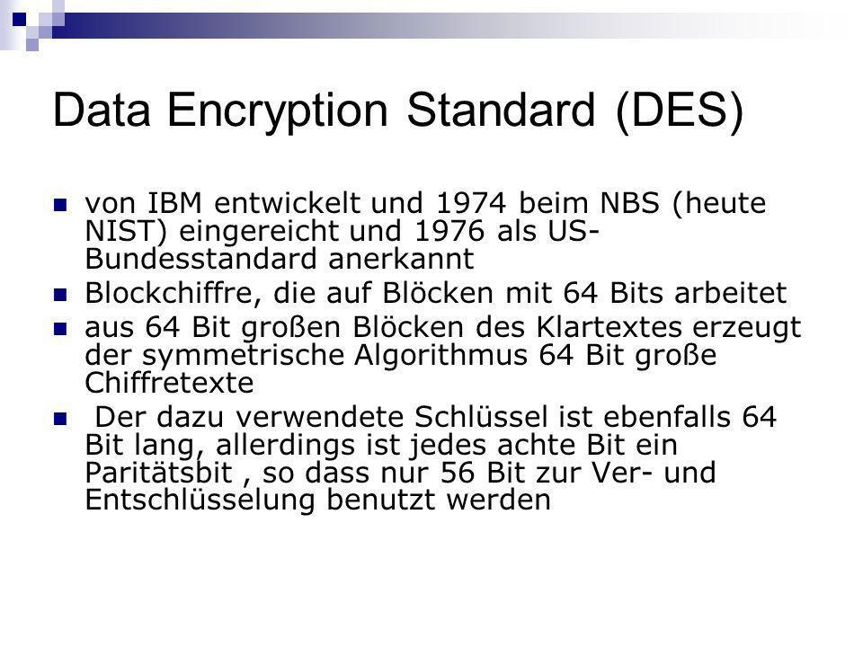 Data Encryption Standard (DES) von IBM entwickelt und 1974 beim NBS (heute NIST) eingereicht und 1976 als US- Bundesstandard anerkannt Blockchiffre, d