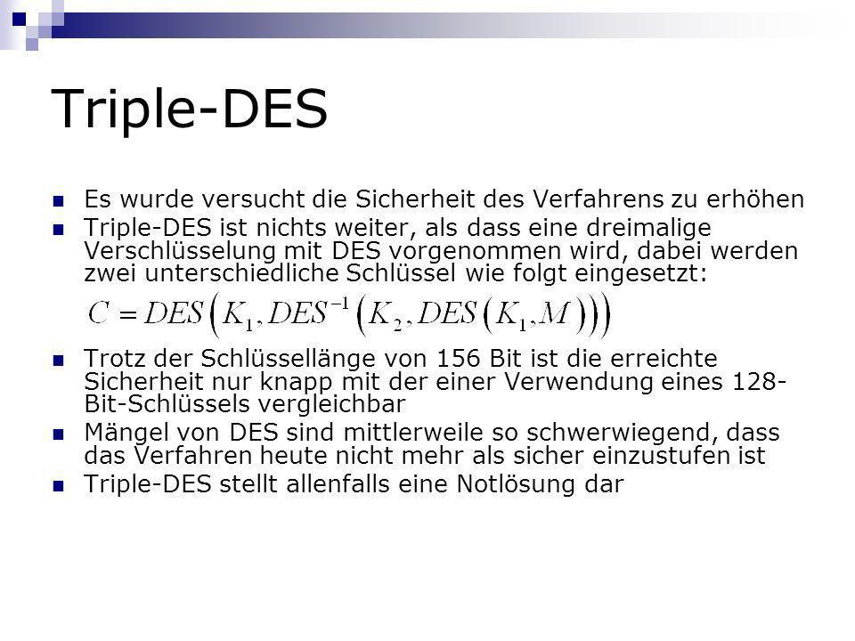 Triple-DES Es wurde versucht die Sicherheit des Verfahrens zu erhöhen Triple-DES ist nichts weiter, als dass eine dreimalige Verschlüsselung mit DES v
