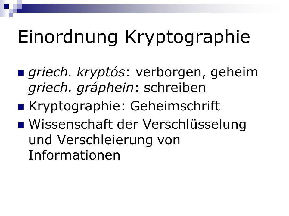 Einordnung Kryptographie griech. kryptós: verborgen, geheim griech. gráphein: schreiben Kryptographie: Geheimschrift Wissenschaft der Verschlüsselung