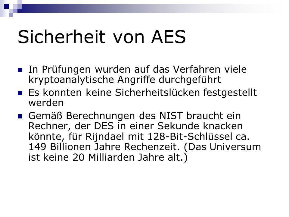 Sicherheit von AES In Prüfungen wurden auf das Verfahren viele kryptoanalytische Angriffe durchgeführt Es konnten keine Sicherheitslücken festgestellt