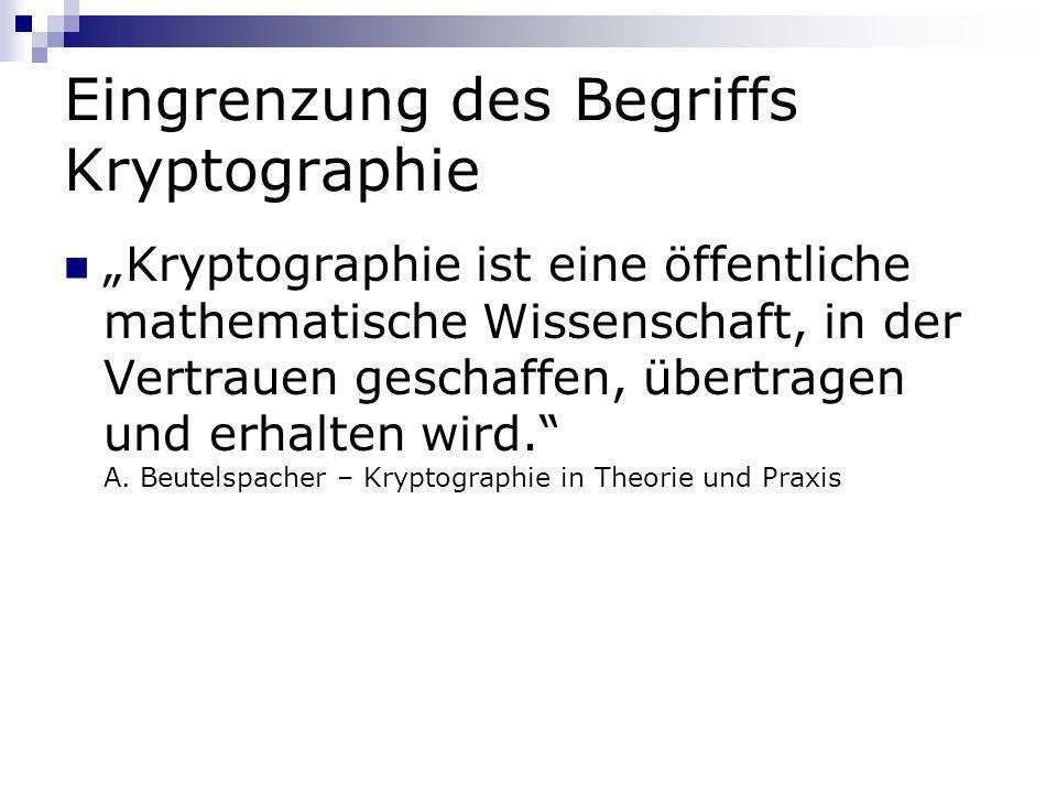 Eingrenzung des Begriffs Kryptographie Kryptographie ist eine öffentliche mathematische Wissenschaft, in der Vertrauen geschaffen, übertragen und erha