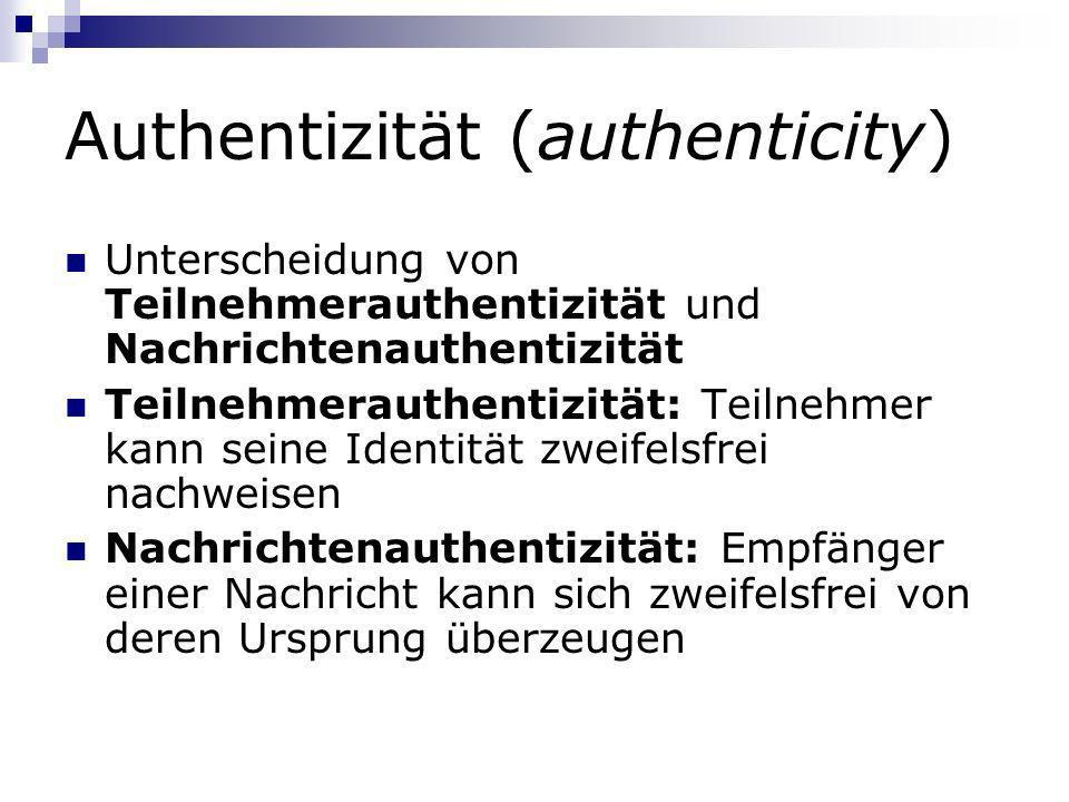 Authentizität (authenticity) Unterscheidung von Teilnehmerauthentizität und Nachrichtenauthentizität Teilnehmerauthentizität: Teilnehmer kann seine Id