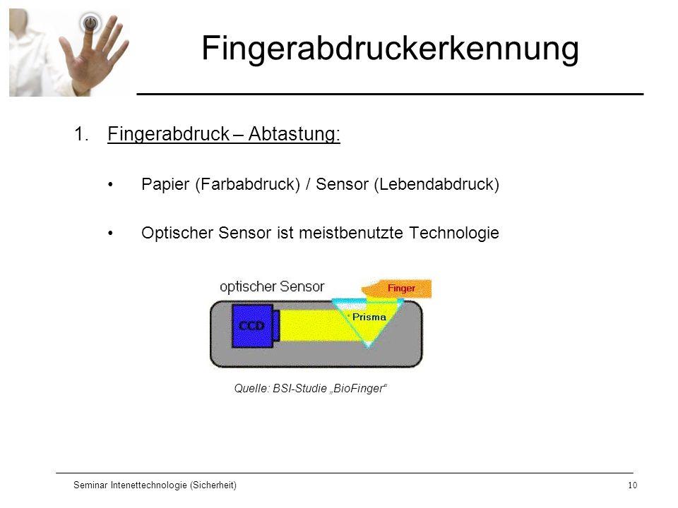 Seminar Intenettechnologie (Sicherheit)10 Fingerabdruckerkennung 1.Fingerabdruck – Abtastung: Papier (Farbabdruck) / Sensor (Lebendabdruck) Optischer