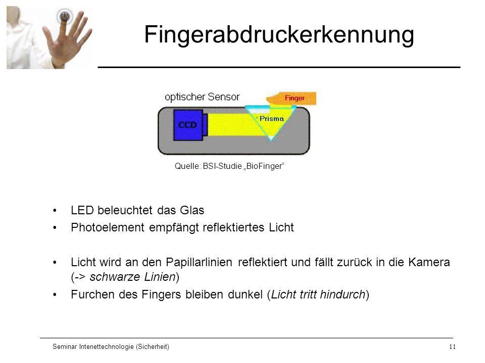 Seminar Intenettechnologie (Sicherheit)11 Fingerabdruckerkennung LED beleuchtet das Glas Photoelement empfängt reflektiertes Licht Licht wird an den P