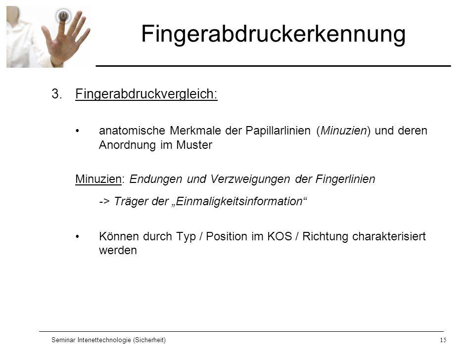 Seminar Intenettechnologie (Sicherheit)15 Fingerabdruckerkennung 3.Fingerabdruckvergleich: anatomische Merkmale der Papillarlinien (Minuzien) und dere