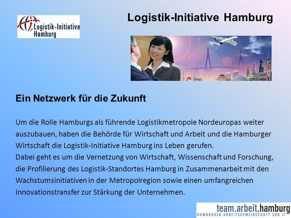 Logistik-Initiative Hamburg Ein Netzwerk für die Zukunft Um die Rolle Hamburgs als führende Logistikmetropole Nordeuropas weiter auszubauen, haben die Behörde für Wirtschaft und Arbeit und die Hamburger Wirtschaft die Logistik-Initiative Hamburg ins Leben gerufen.