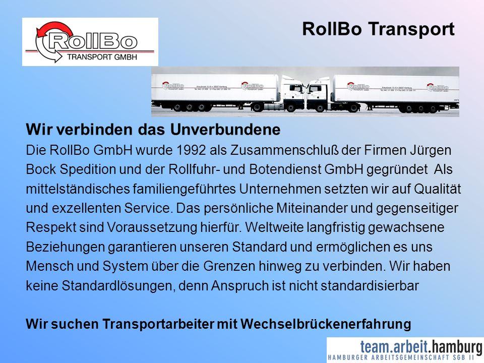 RollBo Transport Wir verbinden das Unverbundene Die RollBo GmbH wurde 1992 als Zusammenschluß der Firmen Jürgen Bock Spedition und der Rollfuhr- und Botendienst GmbH gegründet Als mittelständisches familiengeführtes Unternehmen setzten wir auf Qualität und exzellenten Service.