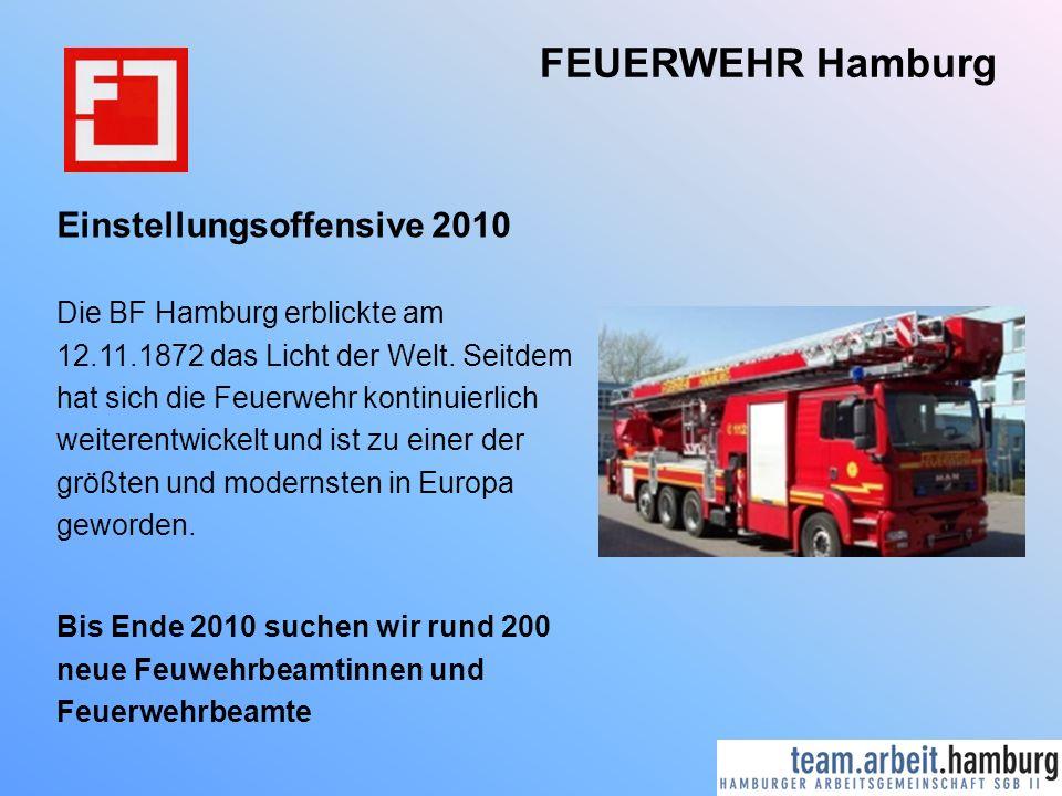 FEUERWEHR Hamburg Einstellungsoffensive 2010 Die BF Hamburg erblickte am 12.11.1872 das Licht der Welt. Seitdem hat sich die Feuerwehr kontinuierlich