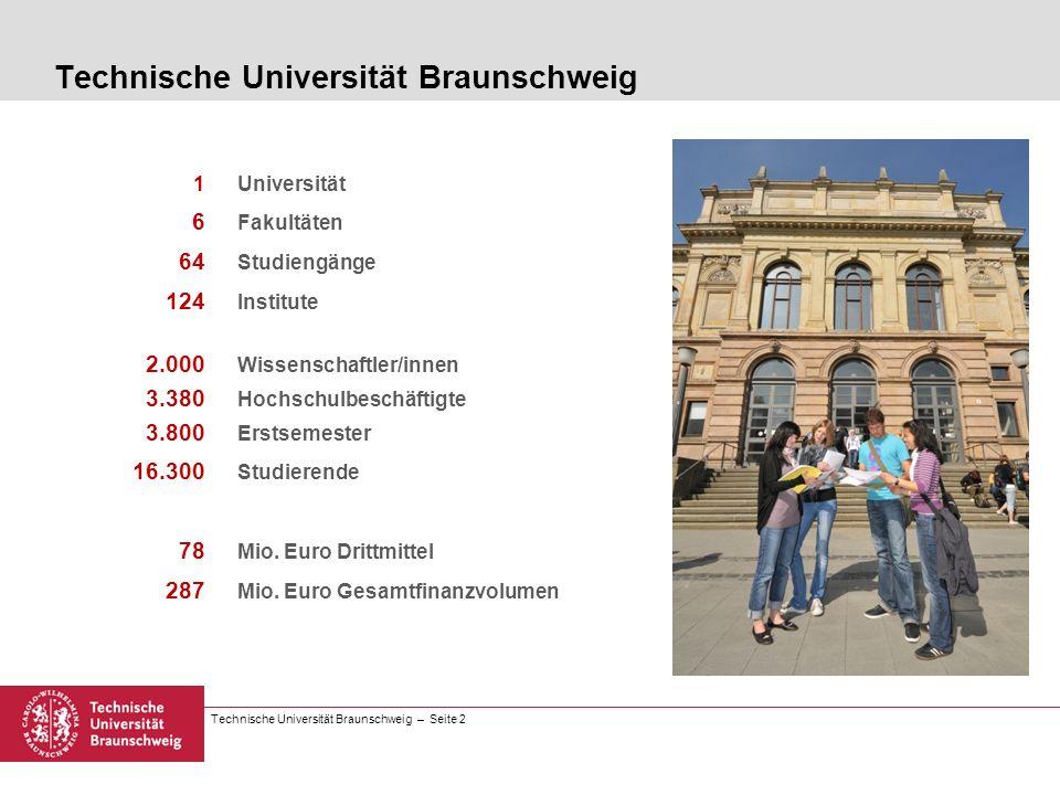 Technische Universität Braunschweig – Seite 13 Studiengänge 1-Fach-Bachelor Erziehungswissenschaft 2-Fächer-Bachelor Lehramt oder Fachwissenschaft (B.A.