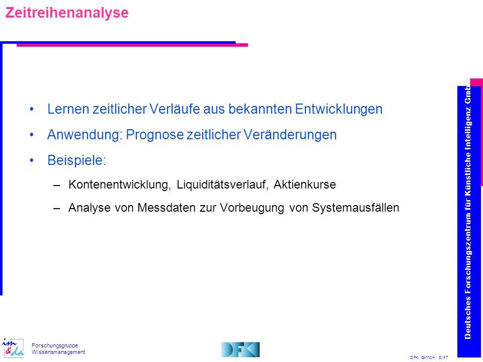 DFKI GmbH, 8/97 Forschungsgruppe Wissensmanagement Zeitreihenanalyse Lernen zeitlicher Verläufe aus bekannten Entwicklungen Anwendung: Prognose zeitli