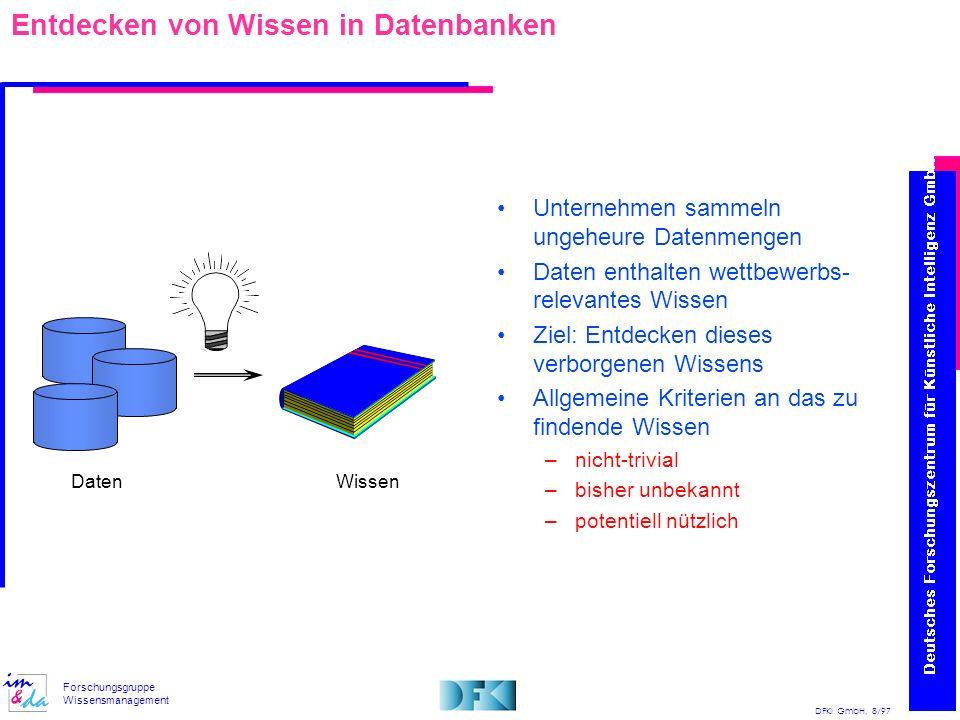 DFKI GmbH, 8/97 Forschungsgruppe Wissensmanagement Entdecken von Wissen in Datenbanken Unternehmen sammeln ungeheure Datenmengen Daten enthalten wettb