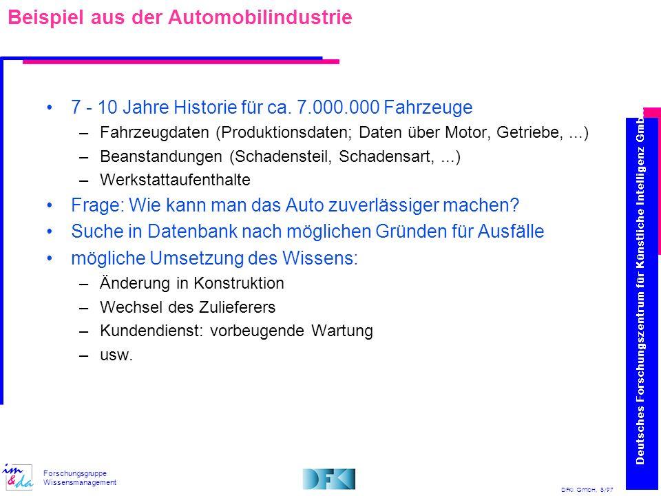 DFKI GmbH, 8/97 Forschungsgruppe Wissensmanagement Beispiel aus der Automobilindustrie 7 - 10 Jahre Historie für ca. 7.000.000 Fahrzeuge –Fahrzeugdate