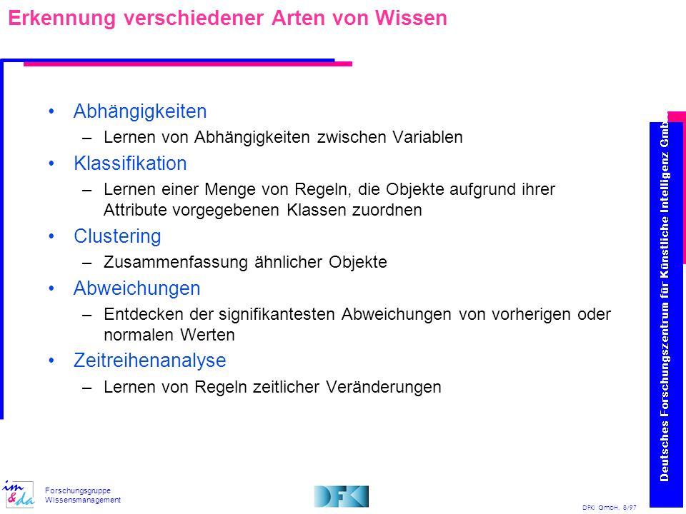 DFKI GmbH, 8/97 Forschungsgruppe Wissensmanagement Erkennung verschiedener Arten von Wissen Abhängigkeiten –Lernen von Abhängigkeiten zwischen Variabl