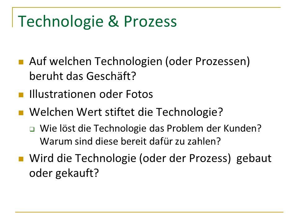 Technologie & Prozess Auf welchen Technologien (oder Prozessen) beruht das Geschäft? Illustrationen oder Fotos Welchen Wert stiftet die Technologie? W