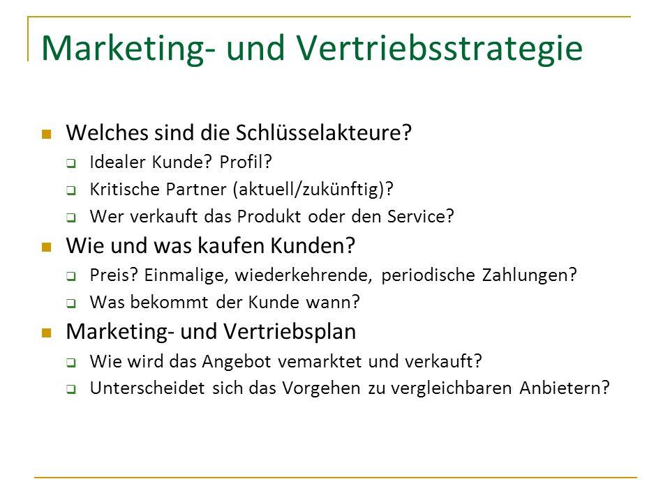 Marketing- und Vertriebsstrategie Welches sind die Schlüsselakteure? Idealer Kunde? Profil? Kritische Partner (aktuell/zukünftig)? Wer verkauft das Pr