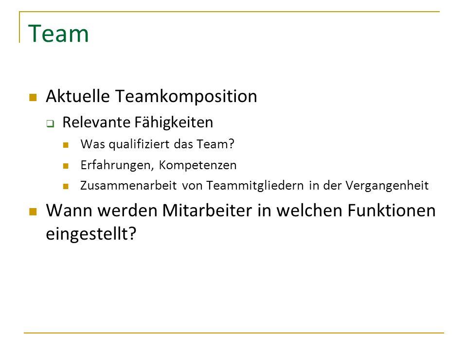 Team Aktuelle Teamkomposition Relevante Fähigkeiten Was qualifiziert das Team? Erfahrungen, Kompetenzen Zusammenarbeit von Teammitgliedern in der Verg