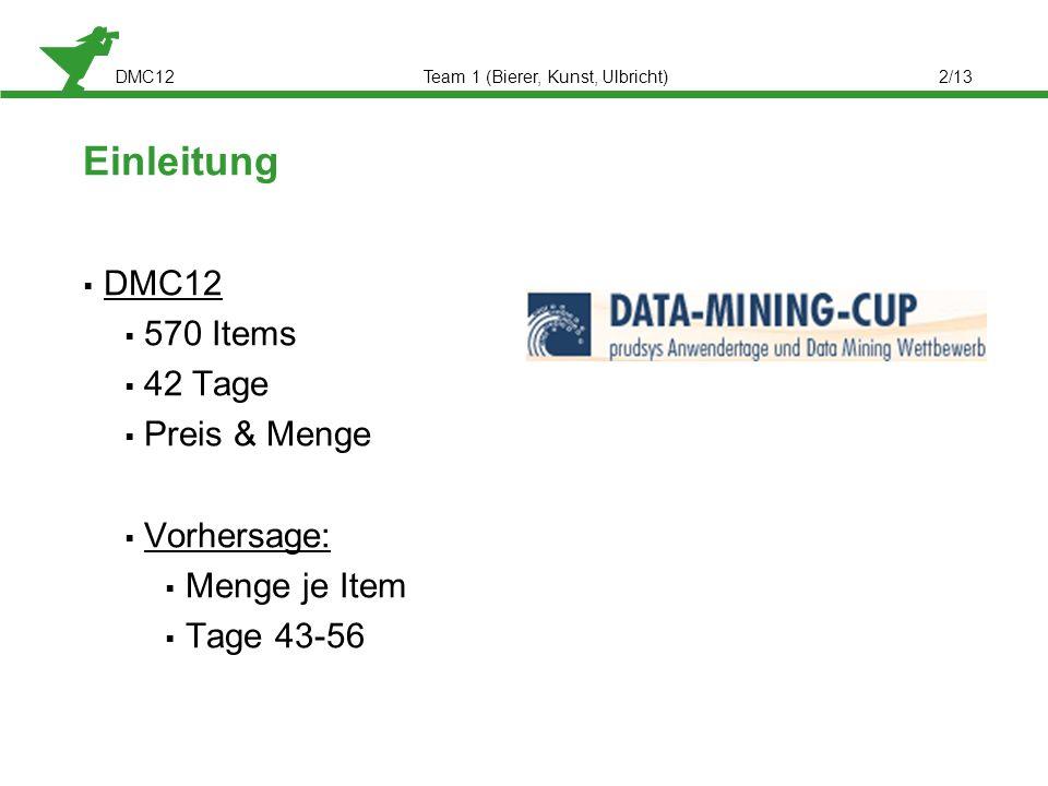 DMC12Team 1 (Bierer, Kunst, Ulbricht)2/13 Einleitung DMC12 570 Items 42 Tage Preis & Menge Vorhersage: Menge je Item Tage 43-56
