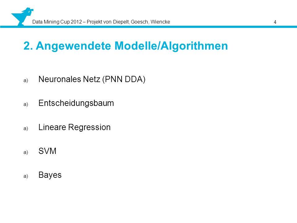 Data Mining Cup 2012 – Projekt von Diepelt, Goesch, Wiencke 4 2. Angewendete Modelle/Algorithmen a) Neuronales Netz (PNN DDA) a) Entscheidungsbaum a)