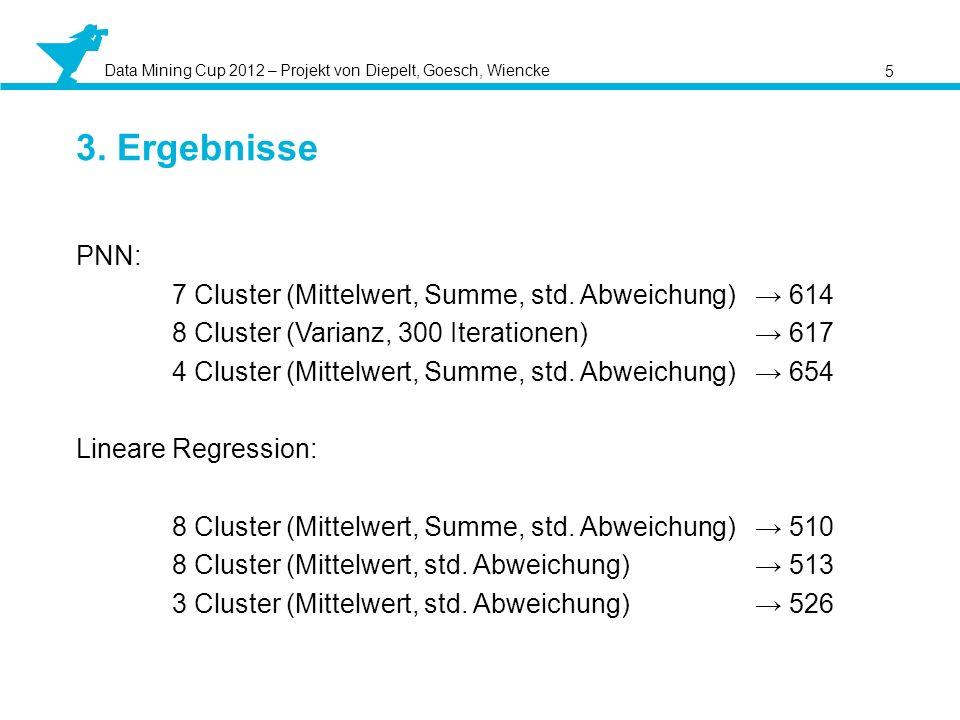 Data Mining Cup 2012 – Projekt von Diepelt, Goesch, Wiencke 5 3. Ergebnisse PNN: 7 Cluster (Mittelwert, Summe, std. Abweichung) 614 8 Cluster (Varianz