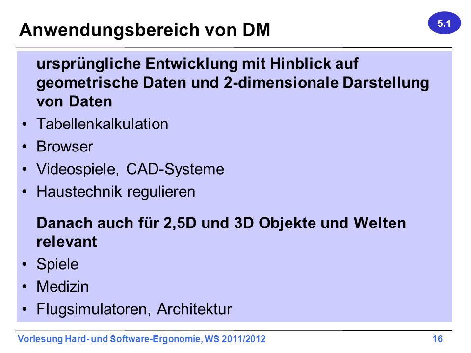 Vorlesung Hard- und Software-Ergonomie, WS 2011/2012 16 Anwendungsbereich von DM ursprüngliche Entwicklung mit Hinblick auf geometrische Daten und 2-d