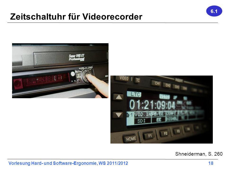 Vorlesung Hard- und Software-Ergonomie, WS 2011/2012 18 Zeitschaltuhr für Videorecorder Shneiderman, S. 260 6.1