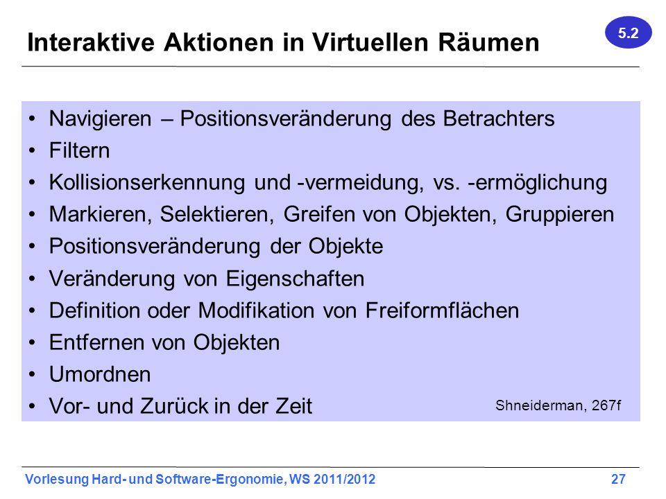 Vorlesung Hard- und Software-Ergonomie, WS 2011/2012 27 Interaktive Aktionen in Virtuellen Räumen Navigieren – Positionsveränderung des Betrachters Filtern Kollisionserkennung und -vermeidung, vs.