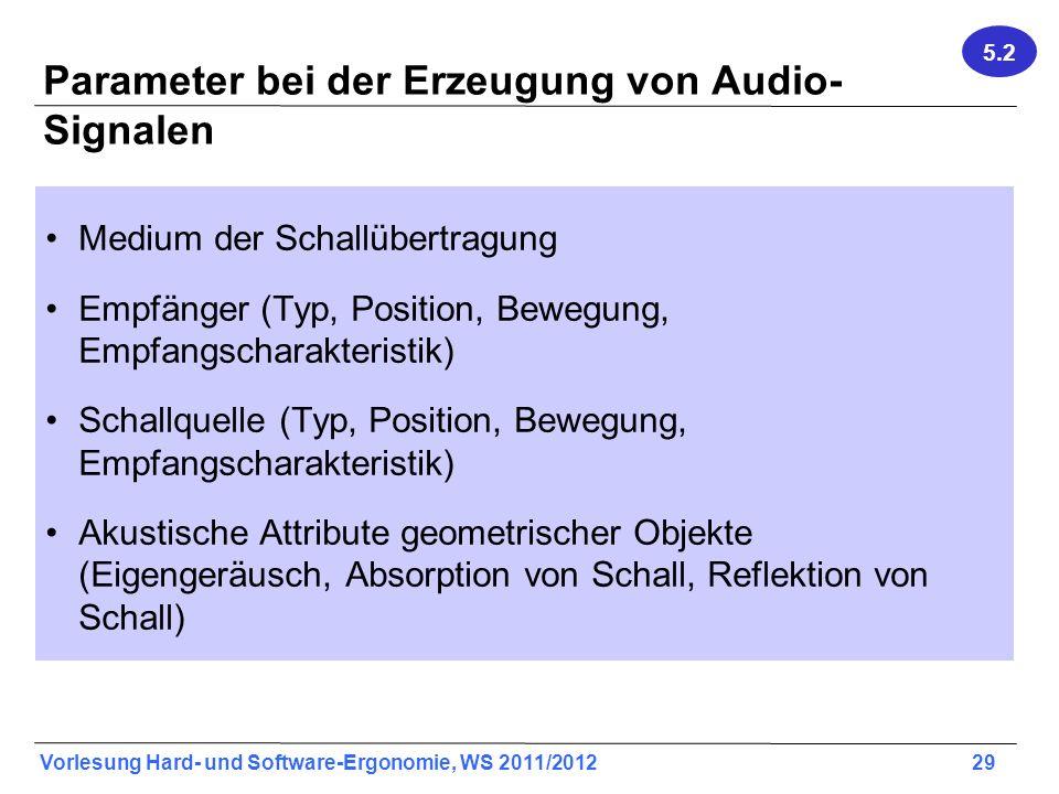 Vorlesung Hard- und Software-Ergonomie, WS 2011/2012 29 Parameter bei der Erzeugung von Audio- Signalen Medium der Schallübertragung Empfänger (Typ, P