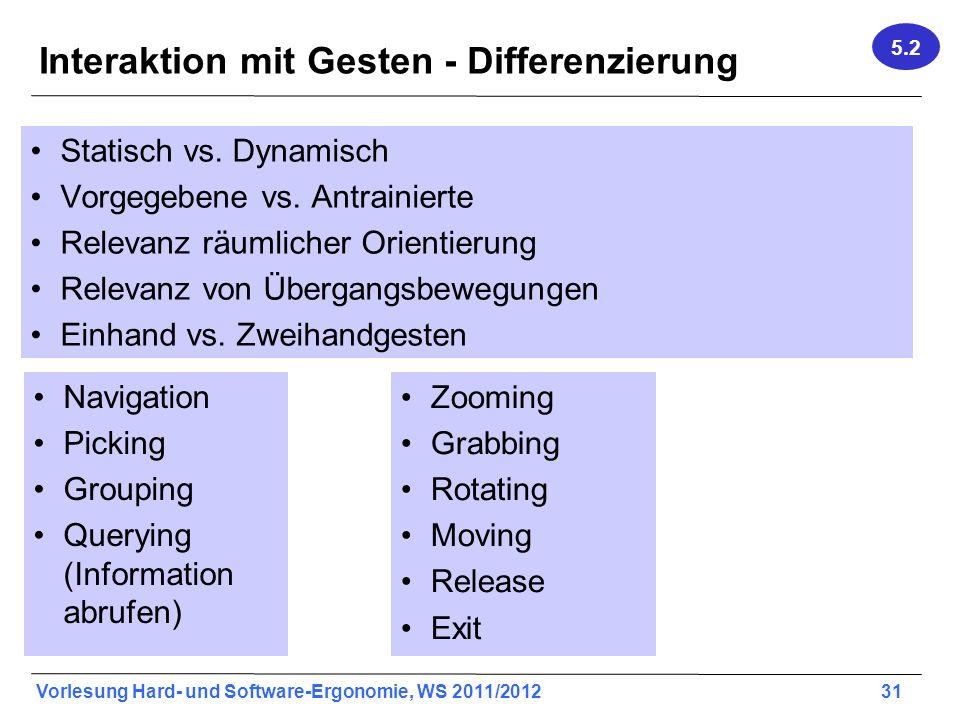 Vorlesung Hard- und Software-Ergonomie, WS 2011/2012 31 Interaktion mit Gesten - Differenzierung Statisch vs. Dynamisch Vorgegebene vs. Antrainierte R