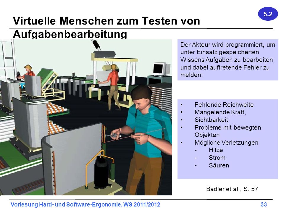 Vorlesung Hard- und Software-Ergonomie, WS 2011/2012 33 Badler et al., S. 57 Virtuelle Menschen zum Testen von Aufgabenbearbeitung Der Akteur wird pro