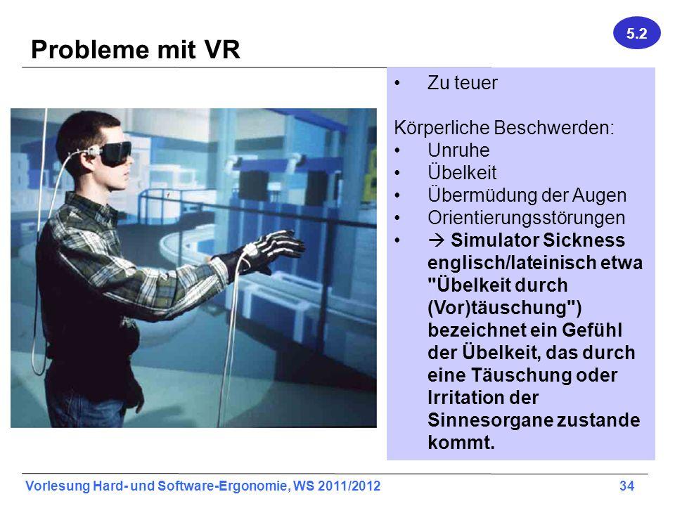 Vorlesung Hard- und Software-Ergonomie, WS 2011/2012 34 Whitton, S. 44 Probleme mit VR Zu teuer Körperliche Beschwerden: Unruhe Übelkeit Übermüdung de