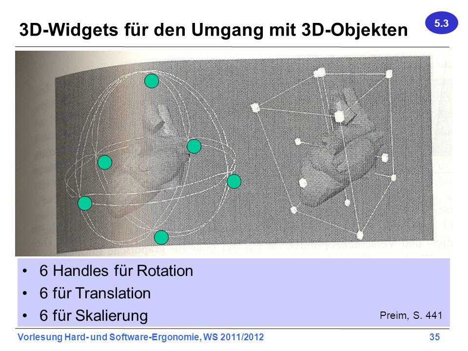 Vorlesung Hard- und Software-Ergonomie, WS 2011/2012 35 3D-Widgets für den Umgang mit 3D-Objekten 6 Handles für Rotation 6 für Translation 6 für Skalierung Preim, S.