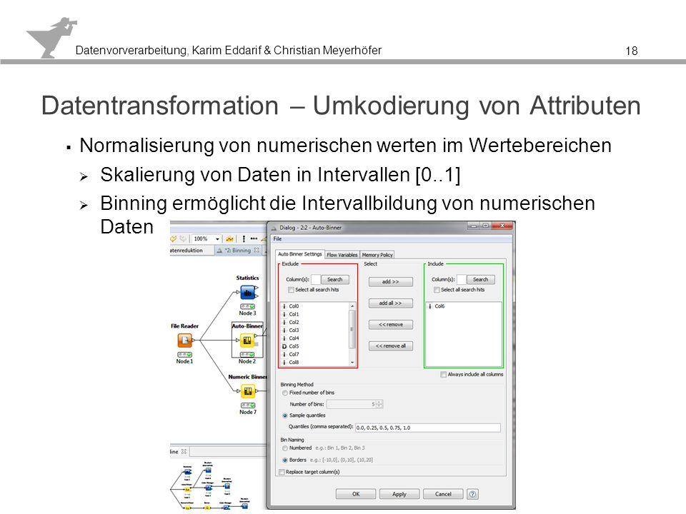 Datenvorverarbeitung, Karim Eddarif & Christian Meyerhöfer Auto-Binner erstellt eine neue Spalte 19 Veränderung der Darstellung, aber nicht des Informations- gehaltes eines Attributes.