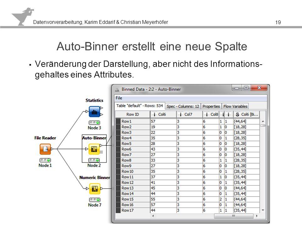 Datenvorverarbeitung, Karim Eddarif & Christian Meyerhöfer Das Ergebnis mit der alten Spalte und ohne Binning ist sehr unübersichtlich 20