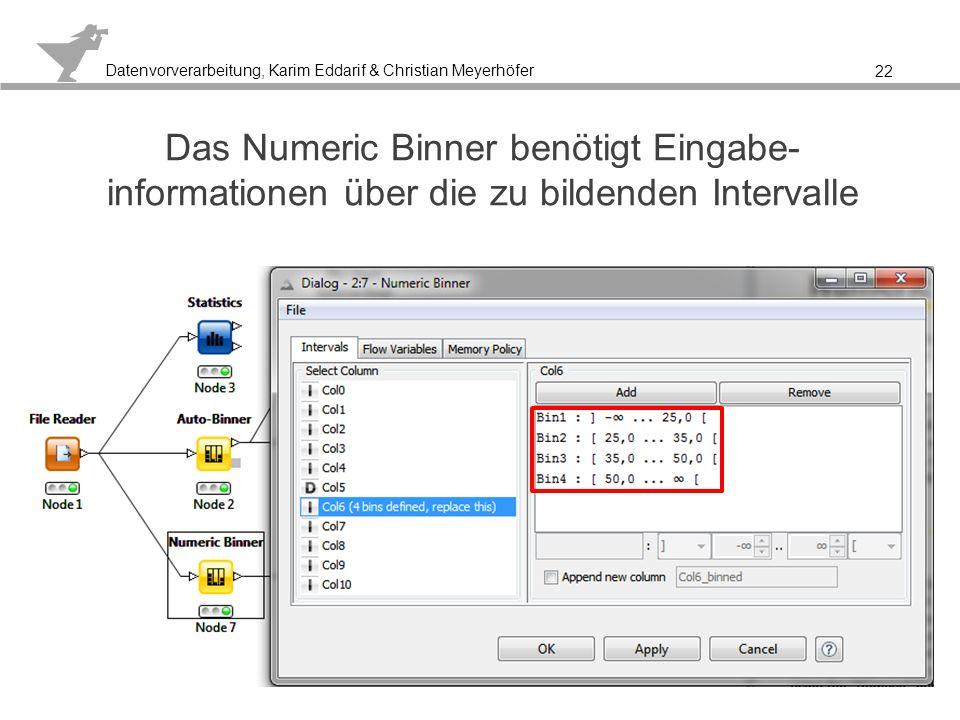 Datenvorverarbeitung, Karim Eddarif & Christian Meyerhöfer Auch hier ergibt sich eine wesentlich übersichtlichere Darstellung der Altersgruppen 23