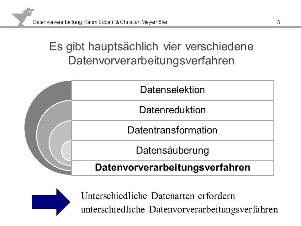 Datenvorverarbeitung, Karim Eddarif & Christian Meyerhöfer Verschiedene Prozesse der Vorbereitung sollen das Data Mining vereinfachen 6 Data Mining Verbesserung der Daten- qualität Betrach- tung der Daten Zugriff auf Daten Anreicherung der Daten Verringe- rung der Dimen- sionen Stich- proben: Verteilung überprüfen