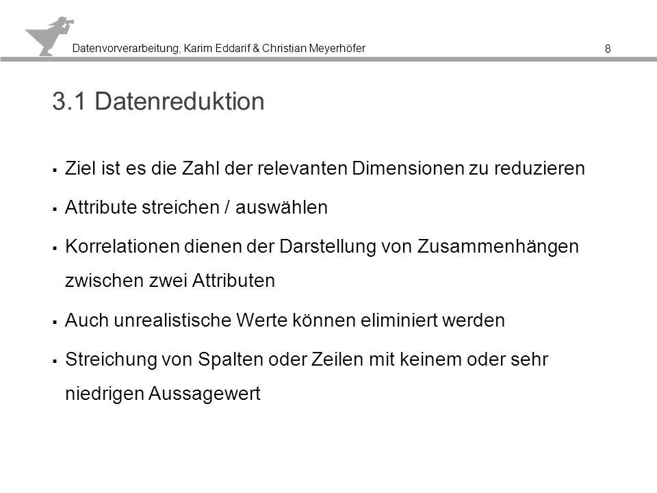 Datenvorverarbeitung, Karim Eddarif & Christian Meyerhöfer Korrelation bilden, um die Beziehungen der Daten zueinander herauszufinden 9