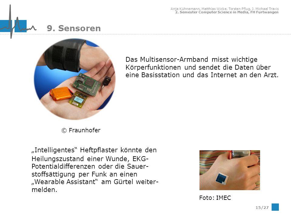 Anja Kühnemann, Matthias Wicke, Torsten Pflug, J. Michael Travis 2. Semester Computer Science in Media, FH Furtwangen 15/27 9. Sensoren Das Multisenso