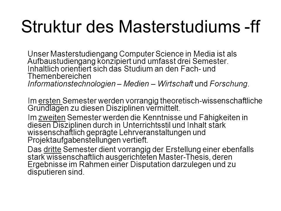 Struktur des Masterstudiums -ff Unser Masterstudiengang Computer Science in Media ist als Aufbaustudiengang konzipiert und umfasst drei Semester. Inha